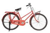 Vintage rot fahrrad isoliert auf weißem hintergrund — Stockfoto