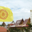 Buddhist Flag in front of the temple — Stock Photo