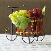 Violet and green Grapes in cute small bicycle — Stock Photo