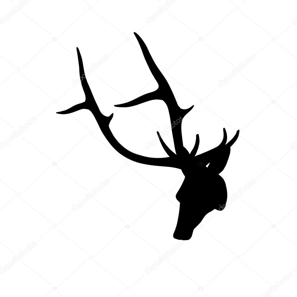 silhouette de t te de cerf noir sur fond blanc photographie charmboyz 36102489. Black Bedroom Furniture Sets. Home Design Ideas