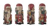 Antique wooden santa set isolated on white background — Stock Photo