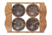 Coconut tray isolated on white background (Top view) — Stock Photo