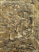 Antique wooden carve with gild — 图库照片