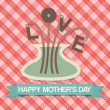 Happy Mother's Day Love Greeting Card — Stock Vector