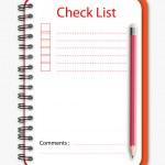 Check list notebook pencil — Stock Vector