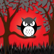 Angry owl — Stock Vector