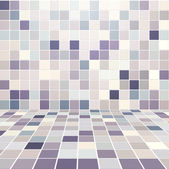 Sala interna con il vettore di muro piastrellato mosaico — Vettoriale Stock