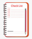Check list notebook pencil — Stock Vector
