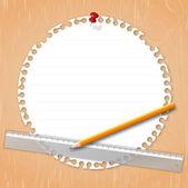 Papel con lápiz y regla — Vector de stock