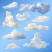 Set of Clouds Gradient Mesh — Stock Vector