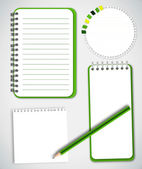 Green Collection Notebook Paper — Stock Vector