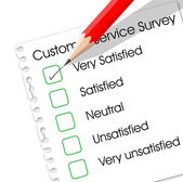 Very satisfied check box in customer service survey form — Stock Vector