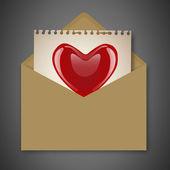 Posta aperta con cuore — Vettoriale Stock