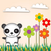 Panda with flower — Vector de stock
