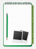 Notebook with photo and pencil — Stock Vector