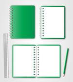 Cuaderno verde conjunto con lápiz y regla — Vector de stock