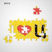 Ti amo puzzle — Vettoriale Stock