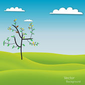 Landscape green background with tree — ストックベクタ