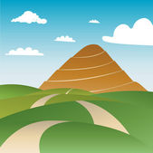 Spiral way to mountain peak — Stock Vector
