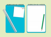 Blå anteckningsbok med penna — Stockvektor