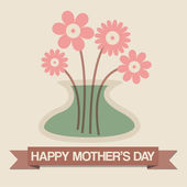 Happy Mother's Day Vase of Flowers Greeting Card — Cтоковый вектор