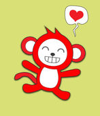 可爱的猴子爱的心 — 图库矢量图片