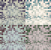 Set of Interior Room with Gradient Mesh Mosaic Tiled Wall — Stock Vector