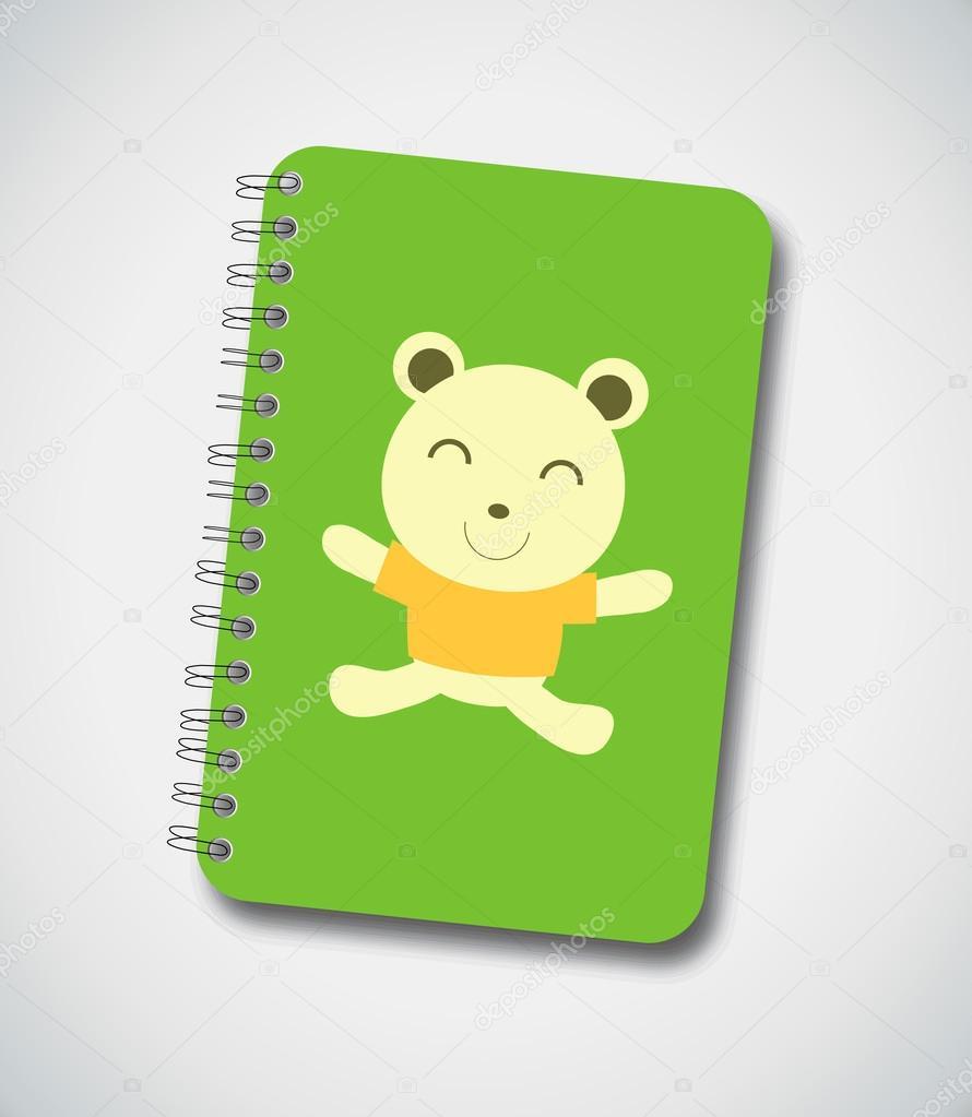 Copertina quaderno orso felice — vettoriali stock