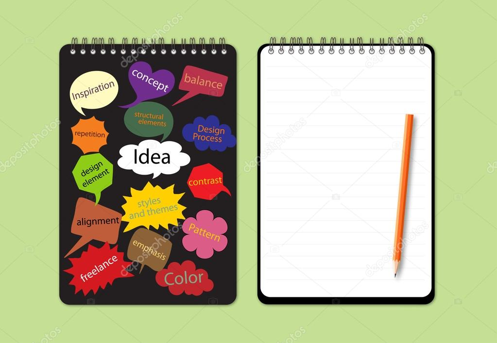 Notebook Cover Design : Notebook with concept word for design cover — stock vector