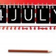 4th of July independence day background calendar — Vettoriali Stock
