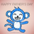 Happy Father's Day with Blue Monkey — Vettoriali Stock
