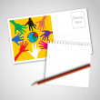 Post card with note paper and pencil — Stock Vector