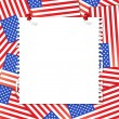 Stock Vector: Note paper on usa flag background