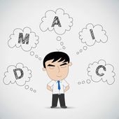 """Businessman Think about """"D M A I C"""" — Stock Vector"""