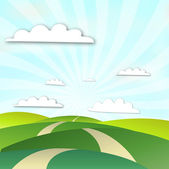 Landscape Sunny Ray — Stock Vector