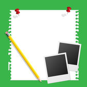 Note paper instant photo and pencil on green background — Vector de stock