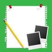 Opmerking papier instant foto en potlood op groene achtergrond — Stockvector