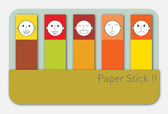 Colorful paper stick with human face — Stok Vektör