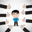 Business man with thumb up — Stock Vector
