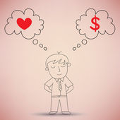 Businessman Thinking between Love and Money — Stock Vector