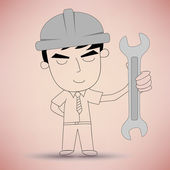 Man holding a wrench — Stock Vector