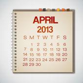 2013 календарь апрель ноутбука вектор — Cтоковый вектор