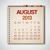 вектор ноутбука августа календарь 2013 — Cтоковый вектор