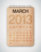 2013 日历 3 月 grunge 纹理笔记本 — 图库矢量图片