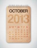 2013 日历 10 月 grunge 纹理笔记本 — 图库矢量图片