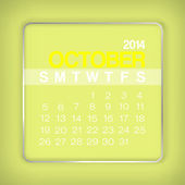 2014 Calendar October — Stock Vector