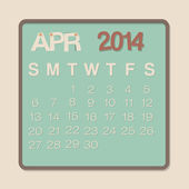 April 2014 Calendar — Stock Vector