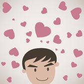 Man Face with scatter heart — Stock Vector