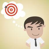 Man day dreaming target — Vector de stock