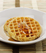 Waffles With Maple Syrup — Stock Photo
